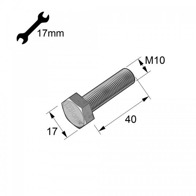 HEXAGON HEAD STEEL BOLT M10x40